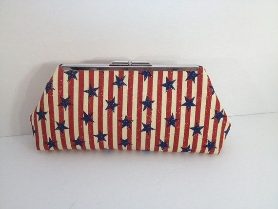 Vintage Look Stars and Stripes Clutch with Nickel/Silver Finish Frame, Americana Bag, Stars Stripe Clutch, Red White Blue Purse, Patriotic on Etsy, $27.00