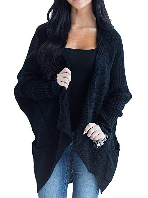 LAICIGO Womens Chunky Open Front Batwing Sleeve Cable Knit Cardigan Sweaters  with Pockets 997353733