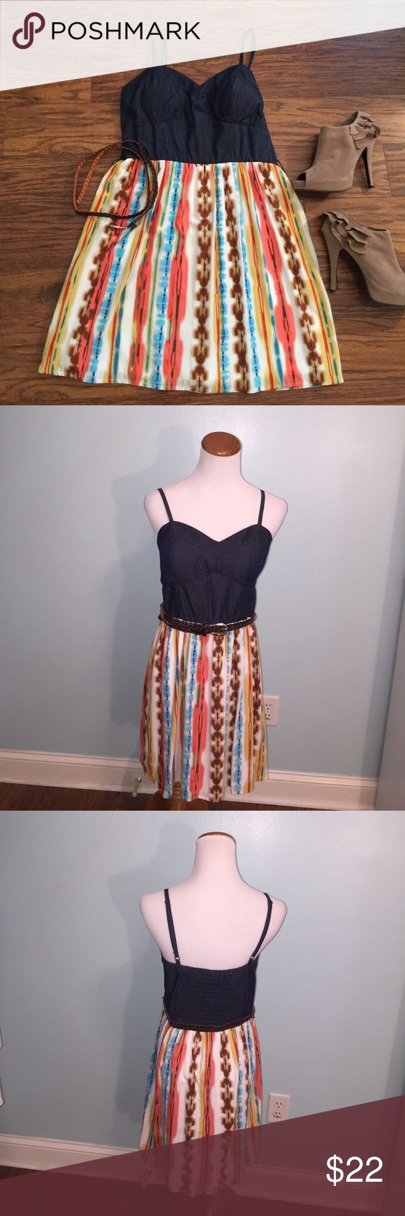 Belted sundress with padded bra cups Size large (juniors). Mini sundress with padded bra cups. Fully lined! Comes with brown woven belt. Features drake ask chambray bustier style too with adjustable straps and elastic panel in back. Skirt is multi colored to die with Southwest appeal. Super cute for Summer! As U Wish Dresses Mini