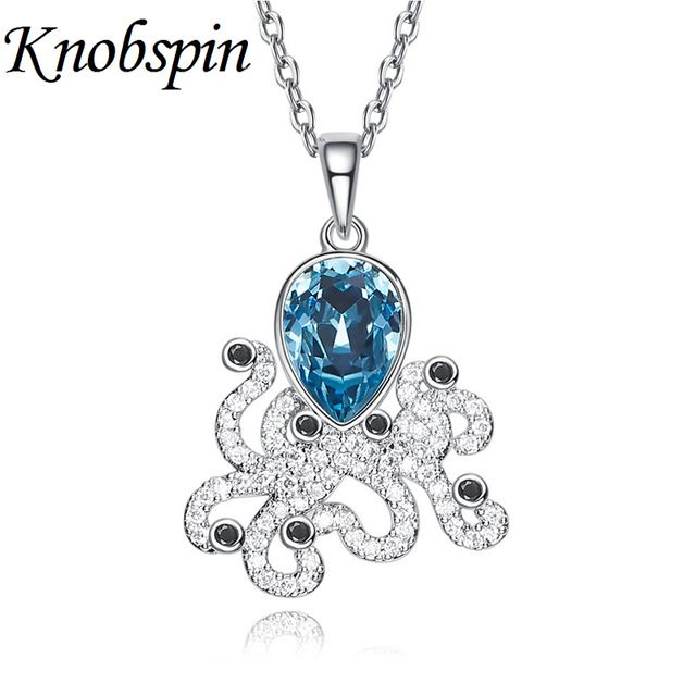 Deals $10.75, Buy Trendy Shiny Blue Crystal Women Necklace Ocean Series Theme Octopus Animal Pendant Necklace bijoux femme Women Jewelry for Party