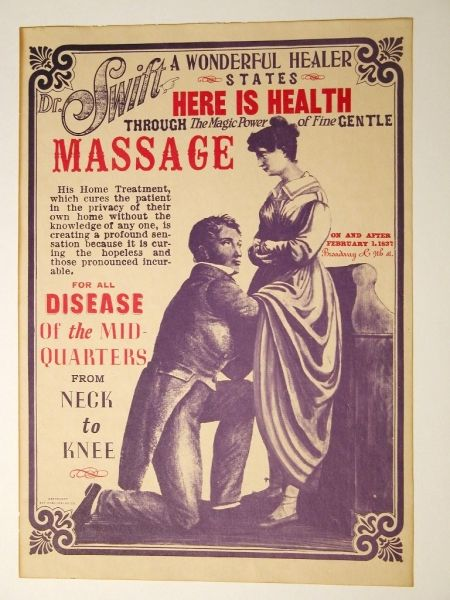 "Dr. Swift's massage treatments From the time of Hippocrates, the term ""hysteria,"" or literally ""womb disease,"" has been considered a female disorder, and the symptoms were many, including anxiety, insomnia, swooning (or perhaps petit mal seizures), and almost any abdominal discomfort. Some physicians treated this ""disease"" of female patients their office."