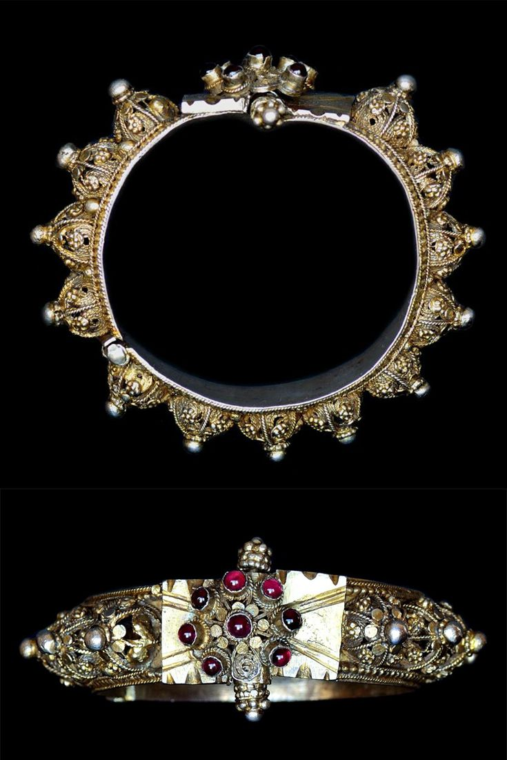 Indonesia ~ Sulawesi | Bracelet ~ 'gelang' ~ silver gilt, rubies | Late 19th - early 20th century