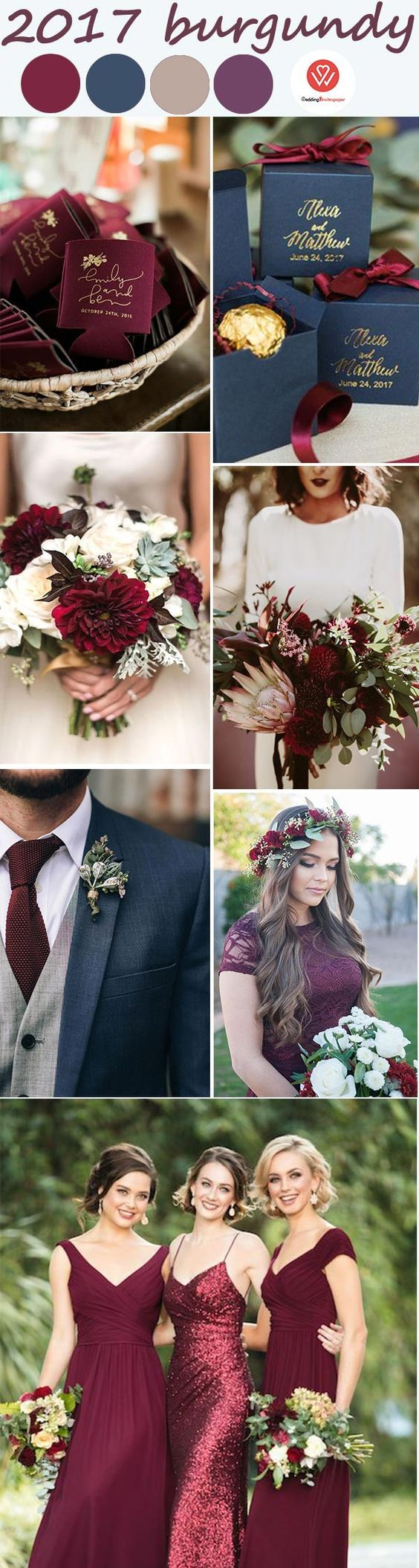 if you like our pin, plz follow us, then we will follow back, thank you so much! burgundy and navy blue rustic-themed wedding dress, bouquet, favor