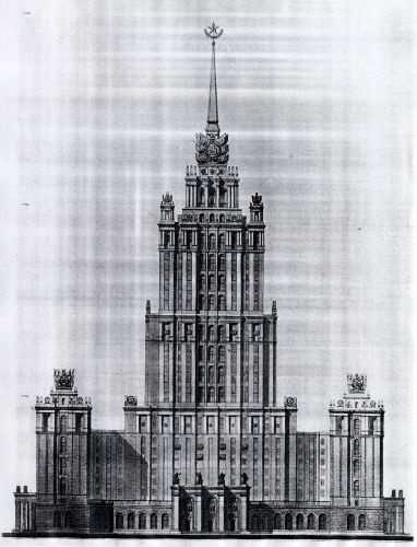 One of the original drawings, similar to the Palace of Culture in Warsaw