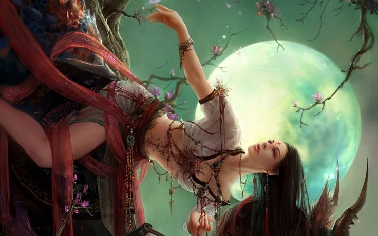 Girl Moon Flowers Download free addictive high quality photos,beautiful images and amazing digital art graphics about Fantasy / Imagination.