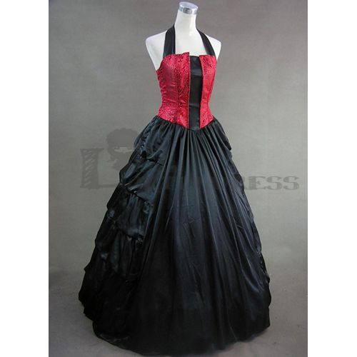 victorian dress | ... Sexy Halter Ruffles Floor-length Red and Black Gothic Victorian Dress