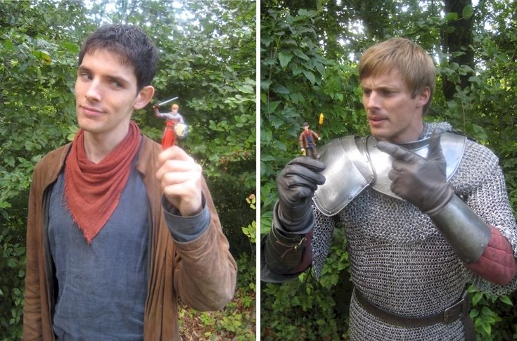 Bradley and Colin with each other's action figures. Their faces. Merlin: this was inevitable. its also slightly funny and very annoying. This'll blow his ego up more... Arthur: Since when is Merlin important enough to have an action figure?!