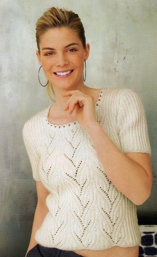 Нарядный женский пуловер с короткими рукавами. Вязание спицами. | Дамская копилка