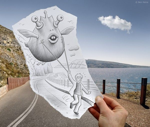 awesome artPhotos, Pencil, The Roads, Schools Art Projects, Real Life, Art Photography, Cameras Art, Drawing, Ben Heine