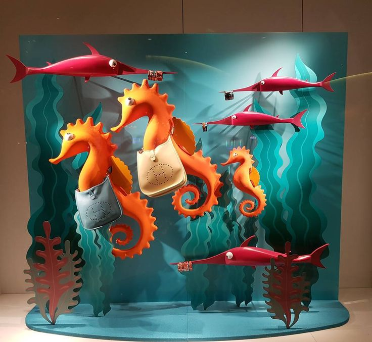 """HERMES, (Bellagio Hotel), Las Vegas, Nevada, """"See the sea horse in the sea. Where else would the sea horse be? For though it's dainty as a wish, the sea horse is, you see, a fish"""", pinned by Ton van der Veer"""