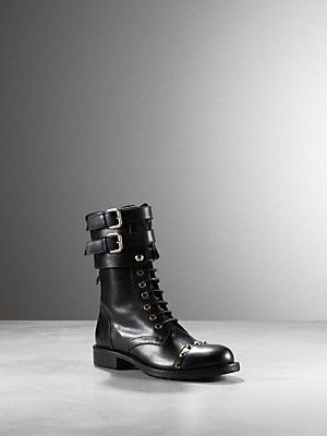 Buy Lace up boots, in nappa calfskin, stud detail on front, visible seams, on the back, double buckle fastening, zip on back leg, Fly with charm Patrizia Pepe, leg height 10cm from the heel, featured in advertising campaign