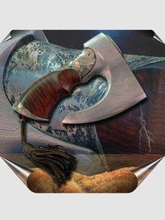 """Нож-топор """"Отговорила роща золотая"""" (2004г) Мастер - Копылов Геннадий. Дамаск, сталь, северо-крымский можжевельник, желтый и белый металлы, кожа. Ковка, сложная ювелирная техника, дамаскаж. Концепция ножа-топора - Ю.Власов. Дамасская сталь - Р.Окушко, С.Епишкин."""