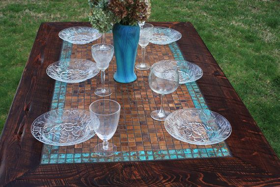 Dining Table, Patinaed Copper Mosaic Tile, Aztec Blue, Reclaimed Wood, 36 x 60, Dark Brown Finish - Handmade