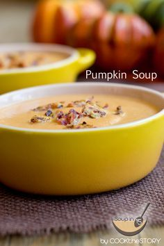 Homemade #recipe for Pumpkin Soup with Bacon Parmesan Crumbles, made in just 15 minutes! @cookthestory