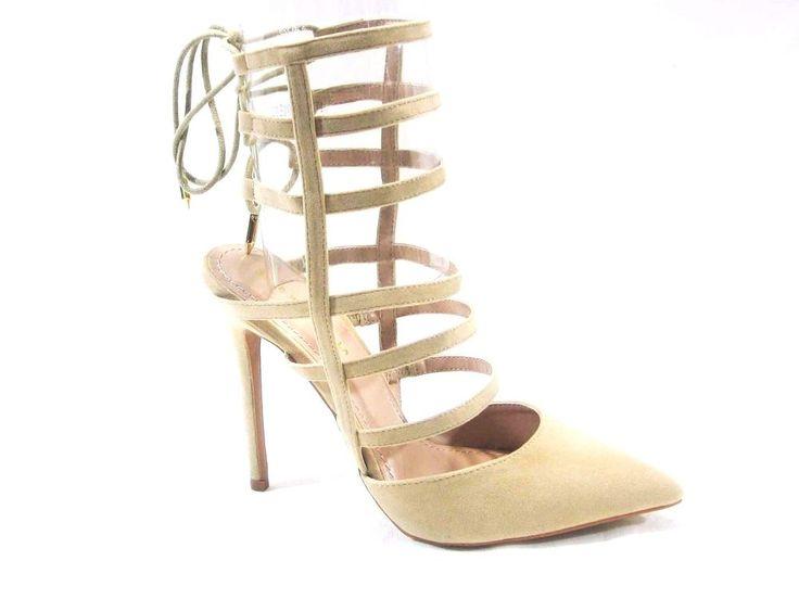 Shoe Republic La Pointy Toe Strappy Tie Back Women's Camel Pump #shoerepublic #Stilettos