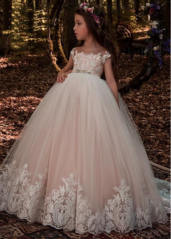 3018ebe588d Buy discount Modest Tulle Scoop Neckline Ball Gown Flower Girl Dresses With  Lace Appliques   Beadings at Magbridal.com