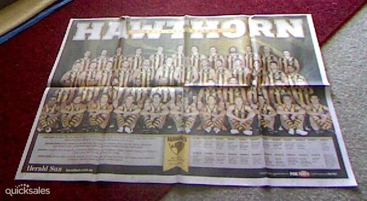 HERALD SUN POSTER - DOUBLE SIDED - HAWTHORN/SYDNEY SWANS - SEASON 2015  by pensauctions - $5.00