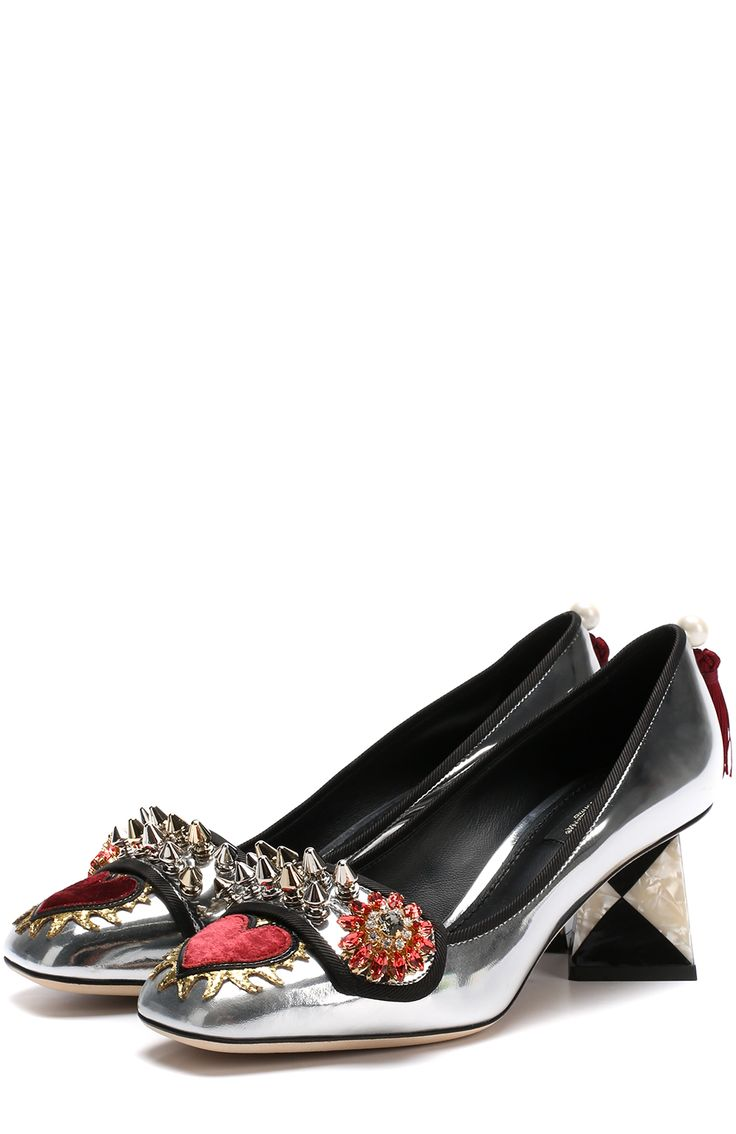 Женские серебряные туфли jackie из металлизированной кожи с декором Dolce & Gabbana, арт. 0112/CD0843/AM412 купить в ЦУМ | Фото №1