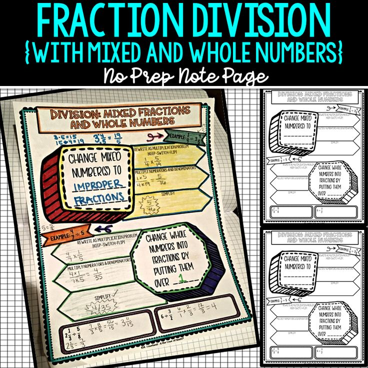 Fraction division with mixed and whole numbers no prep