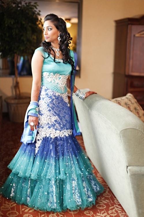 Indian wedding dress. So pretty. Bridal wear lehenga blue jewellery makeup hairstyle