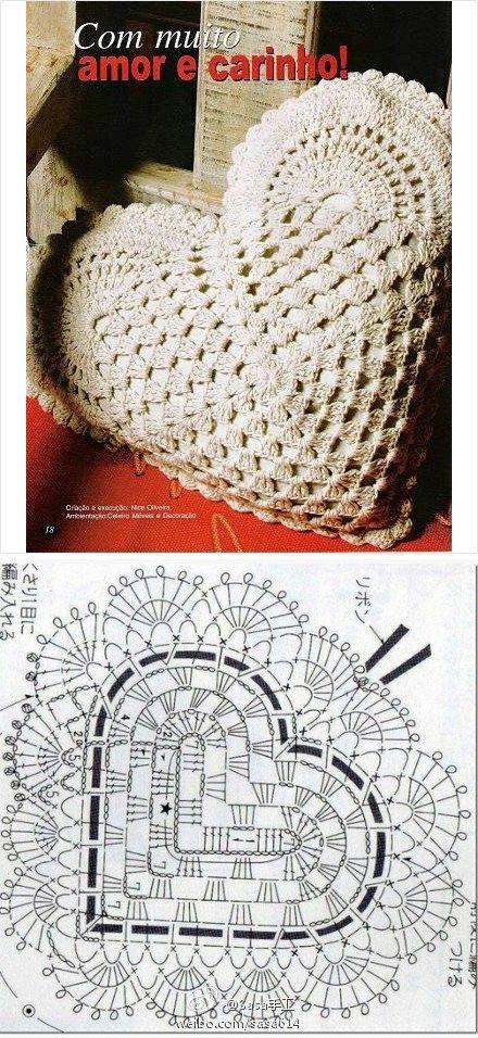 #心形抱枕+图解#钩了心形毯子的妞可以尝试钩个这个抱枕要记得交作业哦!(图片来自网络)