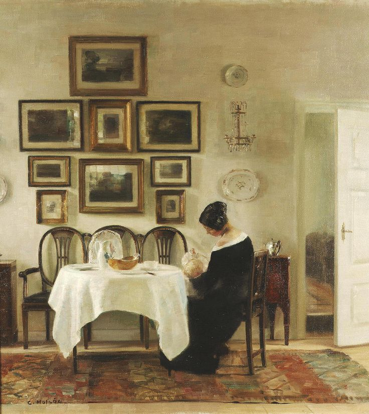 Mother and Child in a Dining Room Interior (Carl Vilhelm Holsøe - )