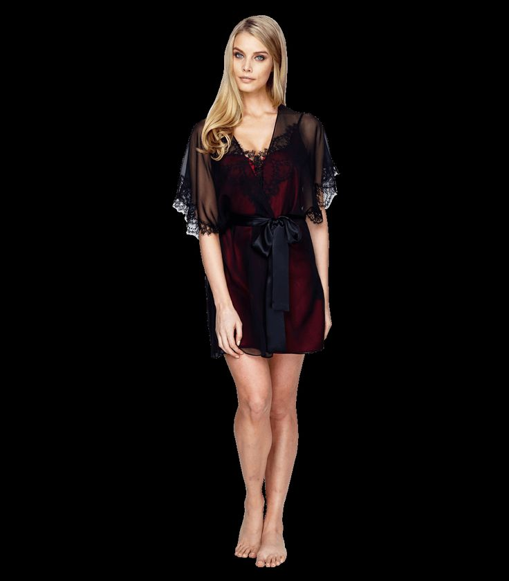 We love the way this chiffon robe dresses up the Chantilly chemise from #ChristineLingerie.