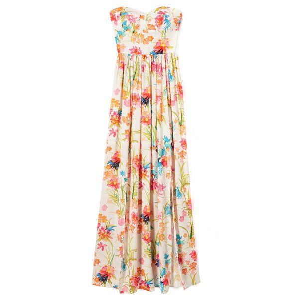 Amanda Uprichard Gisele Maxi Dress (315 CAD) ❤ liked on Polyvore featuring dresses, strapless maxi dress, white floral dress, smocked dresses, floral dresses and smock dress