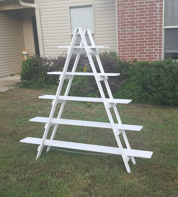 For your MCM ceramic tree display! 6 ft Wooden Ladder - Christmas Village Display - Craft Show Display - Portable Display - Display Stand - Trade Show Display - Wooden Shelves