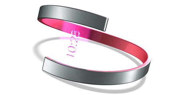 The Hologram Watch looks like a simple, elegant bracelet, but with the flick of the wearer's wrist, a holographic time stamp appears within the negative space.