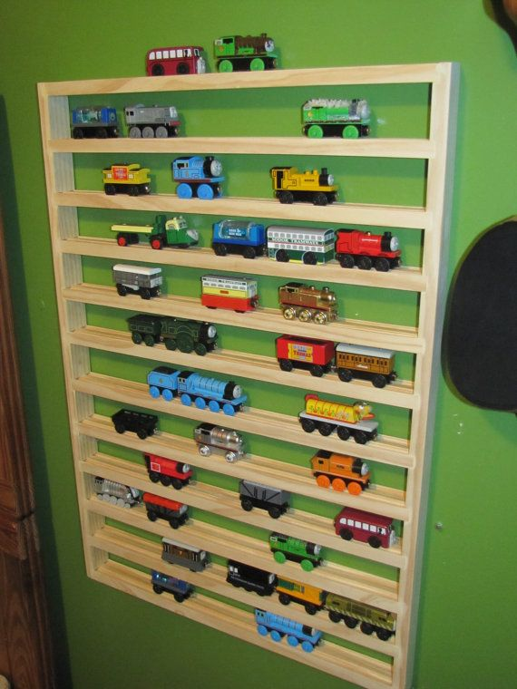 We can make this!    Thomas Train Storage Rack by dusteater5614 on Etsy