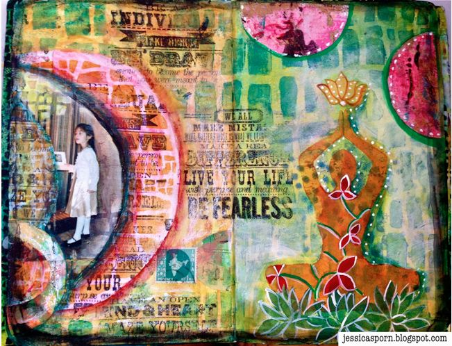 Handmade Art Journal by Jessica Sporn using Gell Prints made with the EXCLUSIVE October 2014 StencilClub stencils from StencilGirl.