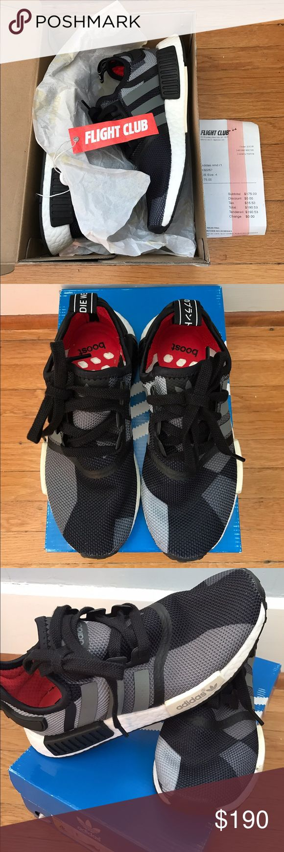 Adidas NMD R1 Grey/Black Camo Size 4 youth or 5.5 women's brand new adidas nmd r1 bought originally from flight club. Adidas Shoes Sneakers