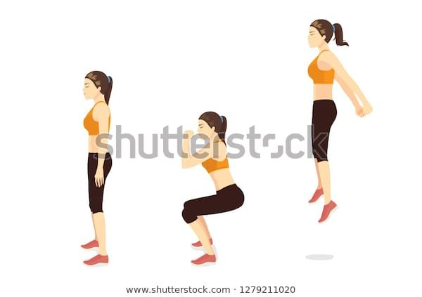 Exercise Guide By Woman Doing Squat Jump In 3 Steps In Side View For Strengthens Entire Lower Body Illustration About Workout In 2020 Workout Guide Squats Exercise