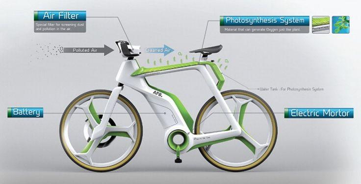 """Si chiama Air Purify Bike ed è una bicicletta """"a fotosintesi"""", nel senso che quando sarà realizzata dovrebbe essere in grado di purificare l'aria. E' stata studiata per generare ossigeno sfruttando l'acqua e l'elettricità, che le sarà fornita da una batteria agl"""