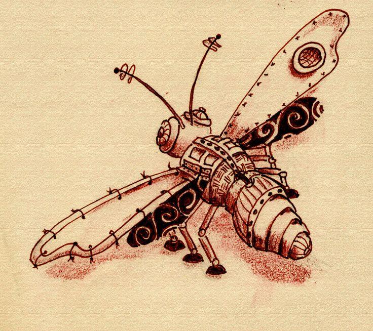 Afbeeldingsresultaat voor mechanical dragonfly drawing