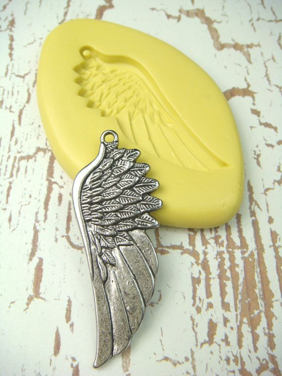 Angel Wing (with bail) - Flexible Silicone Mold - Push Mold, Polymer Clay Mold, Resin Mold, Clay Mold, Jewelry Mold