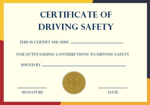 Driving Safety Coursess In 2020 Certificate Templates