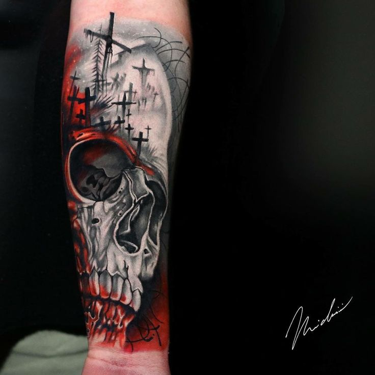 Awesome black and red tattoo works fo Skull and Cemetery motive done by artist Michael Cloutier