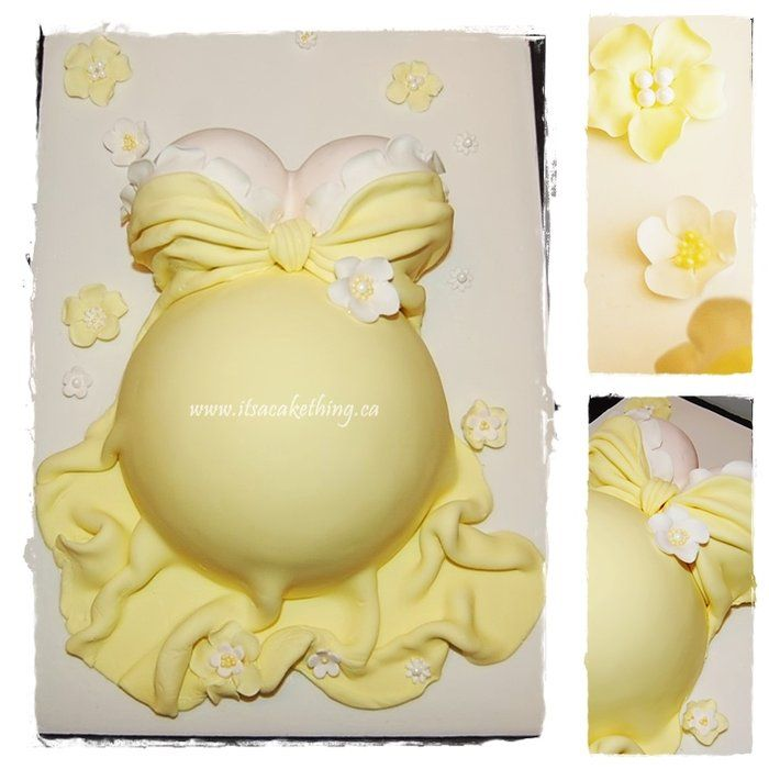 Pregnant Belly Cake-   Elegant, pretty for the mommy to be!  www.itsacakething.ca