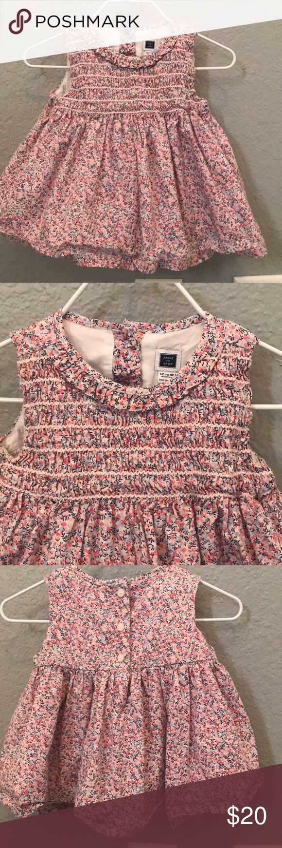 Janie and jack pink bloomer set Pink, navy and lavender floral smocked top with white bloomers. Bows not included. Janie and Jack Dresses Casual