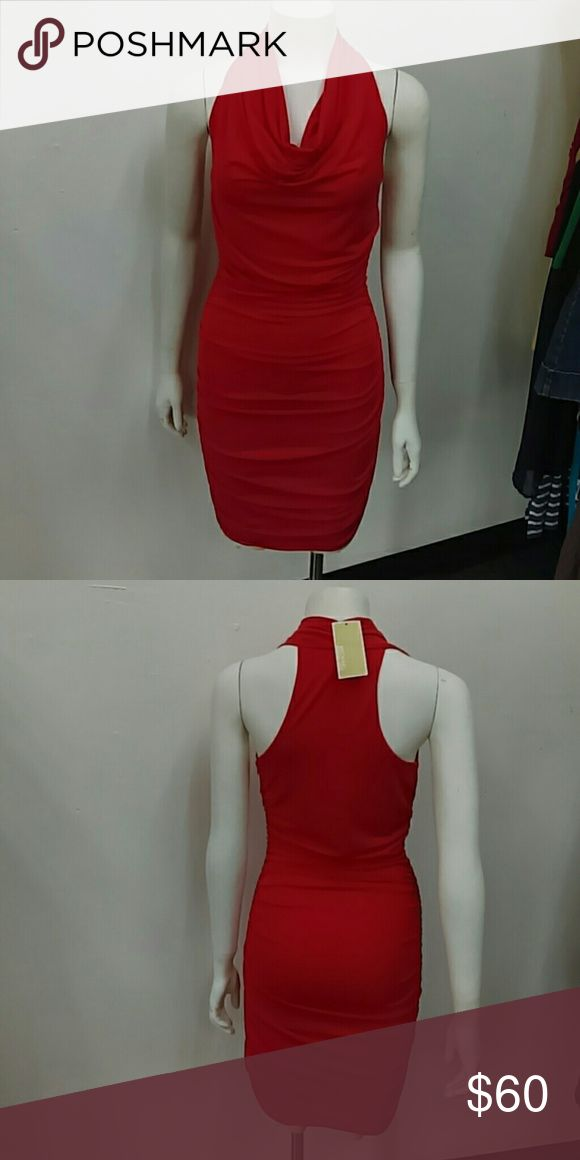 NWT Michael Kors Cherry Dress Sz. S OMG! SUPER CUTE!! And so sexy without showing too much! Side zip closure with ruching on both sides Michael Kors Dresses Midi