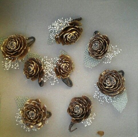Pinecone Boutonnieres for a fall wedding.