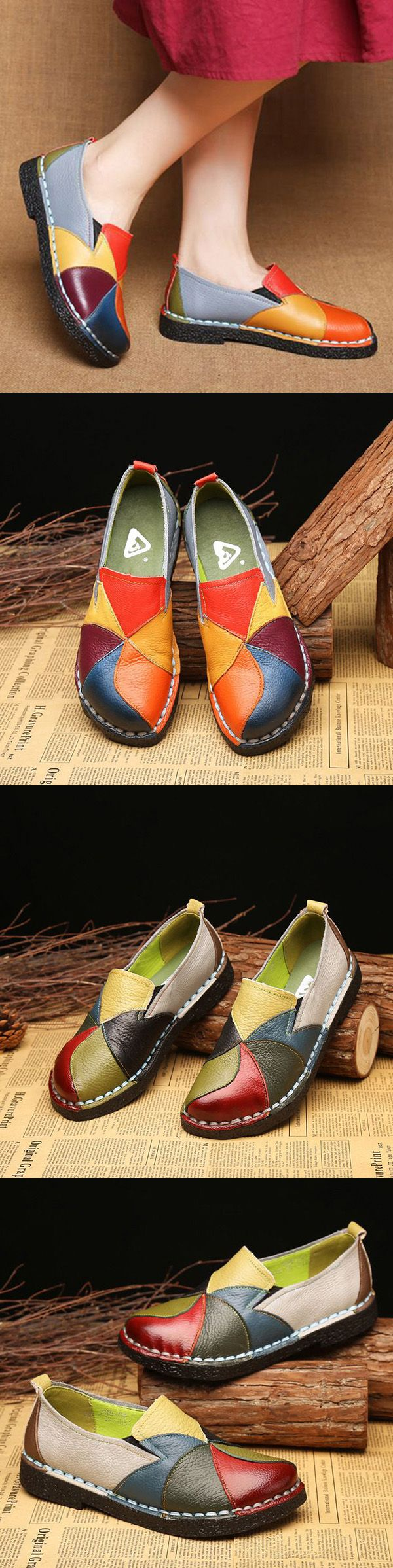 US$34.46 SOCOFY Handmade Splicing Leather Soft Flat Loafers