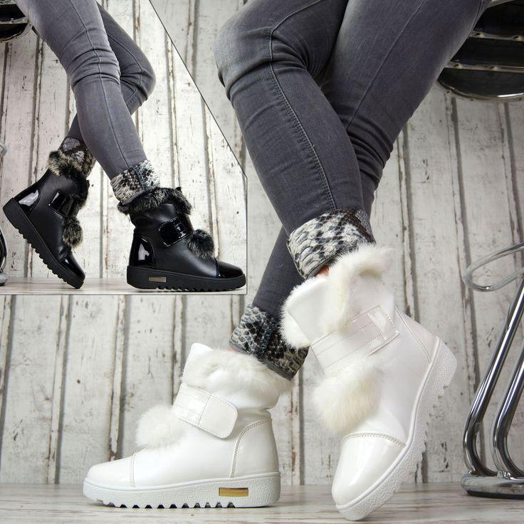GEFÜTTERT Winter Damenschuhe Boots Stiefeletten Luxus Weiß Schwarz Kunstfell