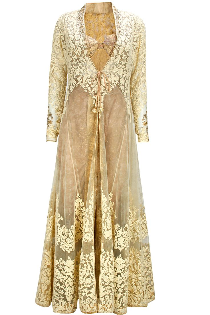 Ivory floral embroidered jacket with peach shimmer dhoti pants by Anju Modi. Shop now: www.perniaspopups.... #lehenga #designer #anjumodi #elegant #clothing #shopnow #perniaspopupshop #happyshopping