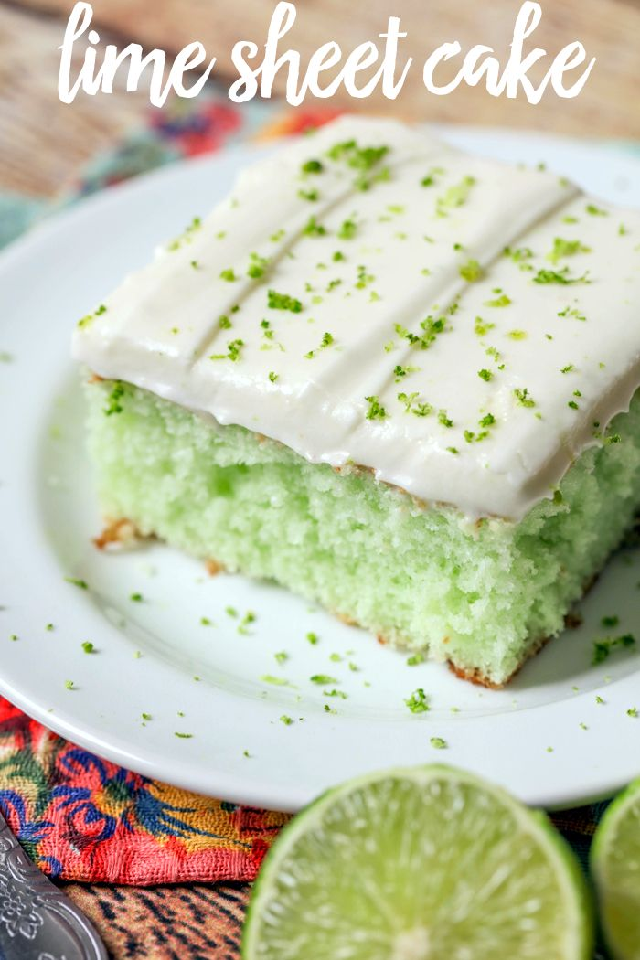 DELICIOUS Lime Sheet Cake - a super soft and moist lime cake with homemade lime buttercream frosting!