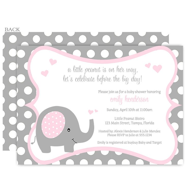 Love This Polka Dot Elephant Pink Baby Shower Invitation With Pink And Gray  Featuring A Sweet