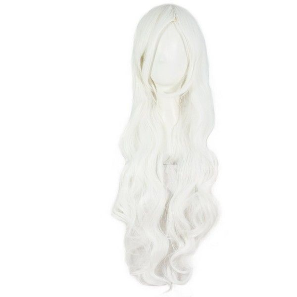 "MapofBeauty 32"" 80cm Long Hair Spiral Curly Cosplay Costume Wig... ($18) ❤ liked on Polyvore featuring costumes, role play costumes, wig costumes, white costume, white halloween costumes and white wig costume"
