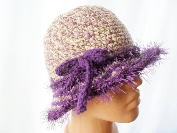 Crochet Cloche Purple Hat  Free Shipping by noyumberry on Etsy, $23.00